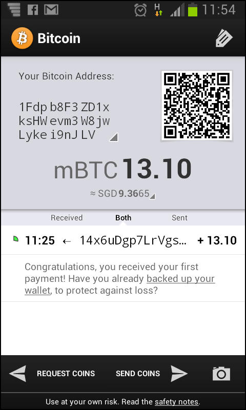 My bitcoin mobile wallet